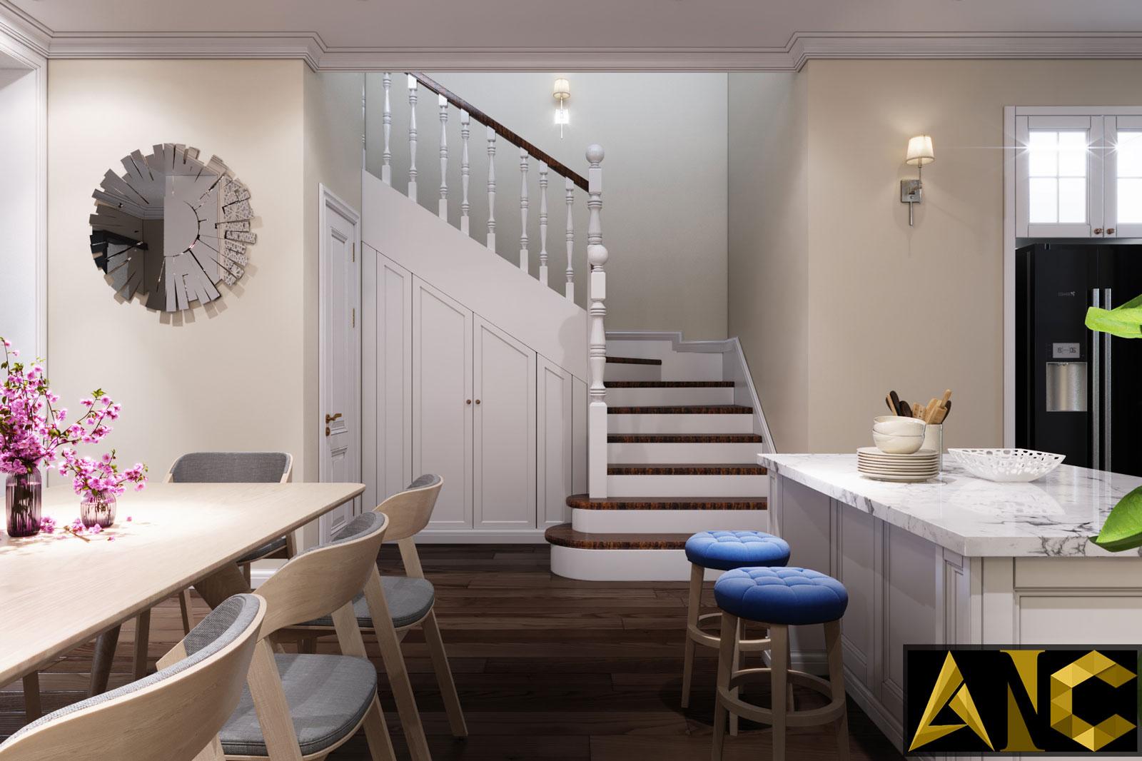 Thiết kế nội thất Nine South: Tầng Trệt Bếp và Phòng Ăn View 2 - Nhà Anh Mạnh