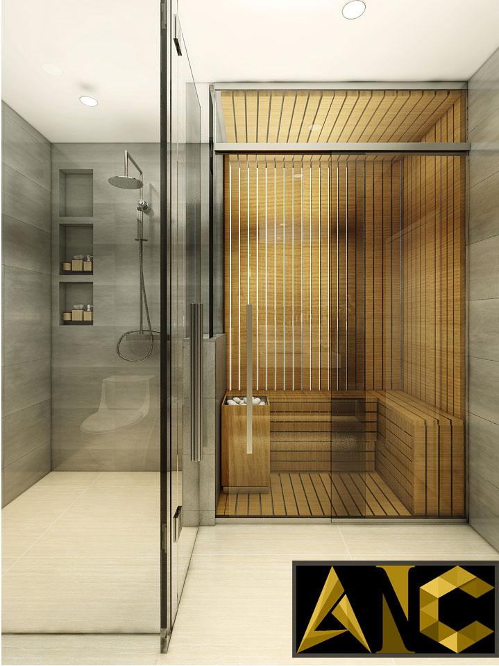 Thiết kế nội thất Nine South: Nhà Vệ Sinh Phòng Ngủ Master View 2 - Nhà Anh Mạnh