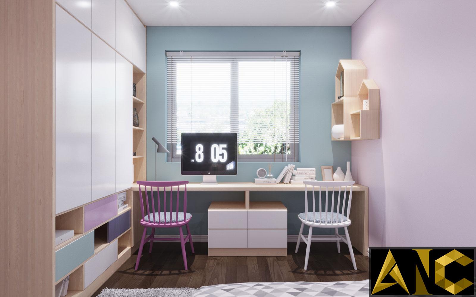 Thiết kế nội thất Nine South: Phòng Con Gái View 1 - Nhà Anh Mạnh