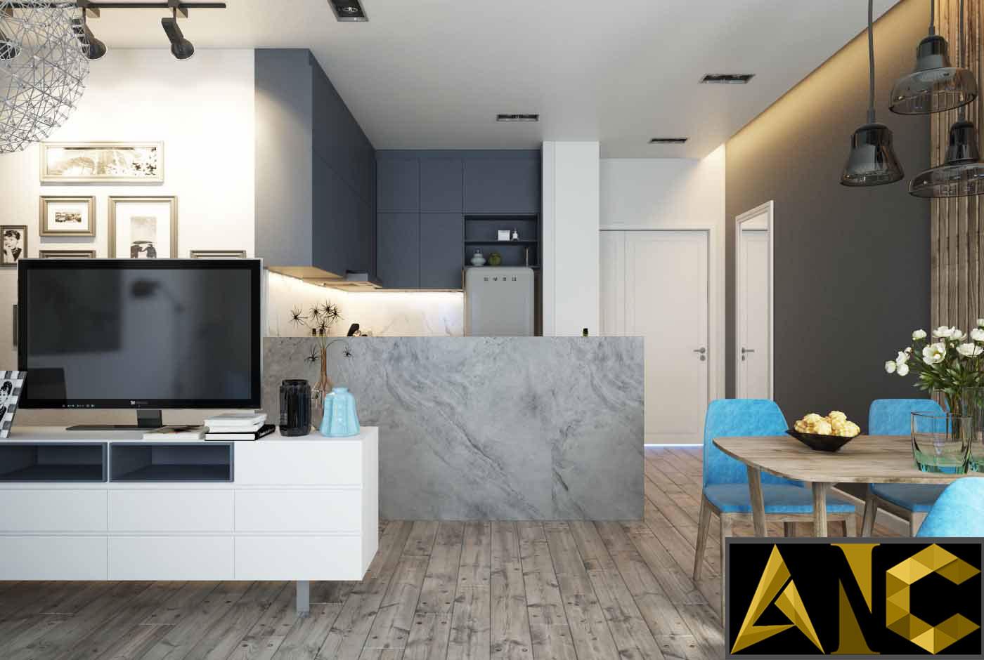 Thiết kế thi công nội thất: Căn hộ Masteri - phòng khách view 2