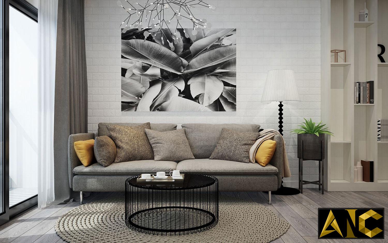 Thiết kế thi công nội thất căn hộ Scenic Valley phòng khách view 1