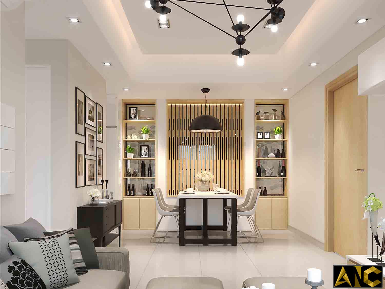 Thiết kế thi công nội thất: Căn hộ Masteri - phòng khách view 1
