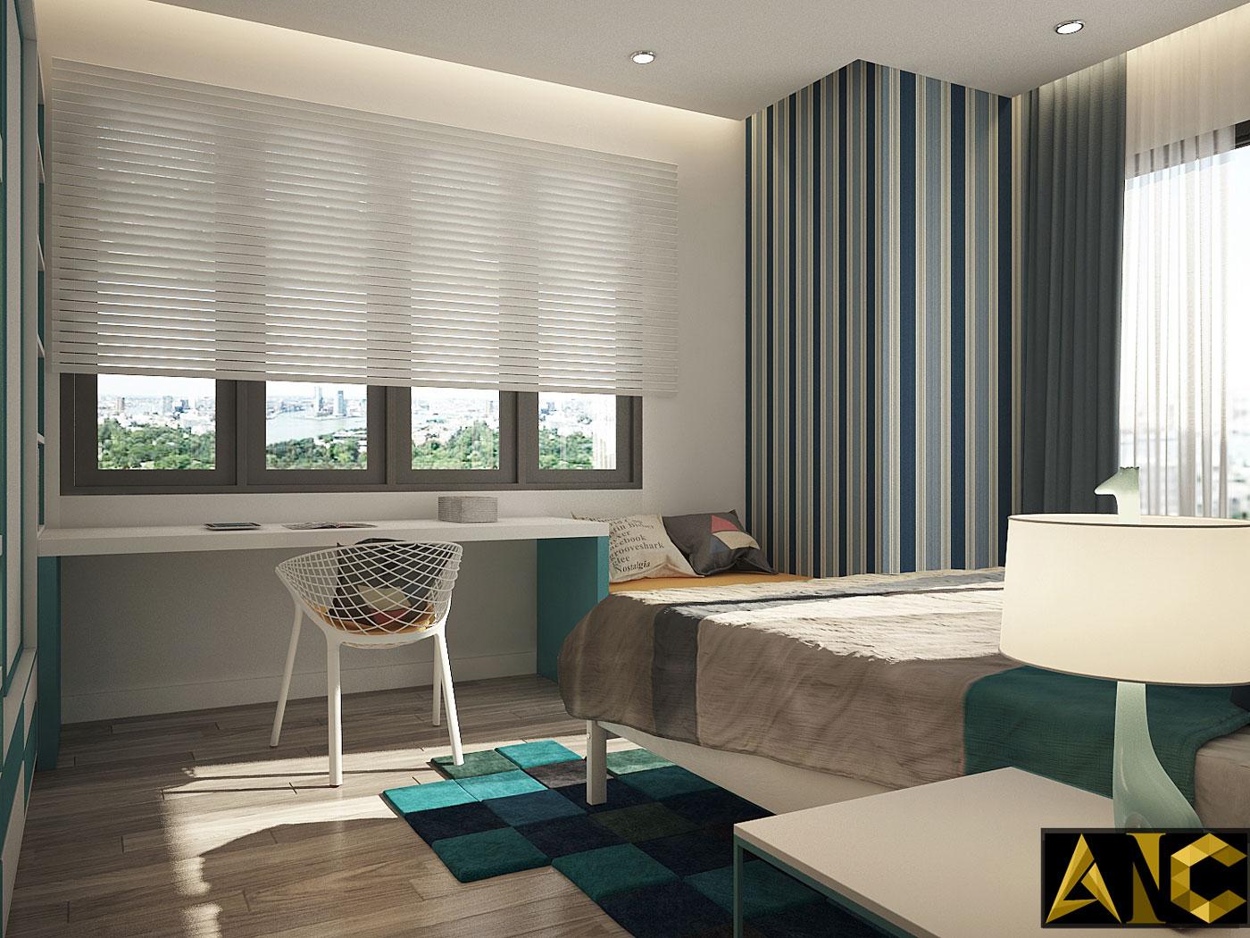 Thiết kế thi công nội thất: căn hộ Royal City phòng ngủ nhỏ view 2