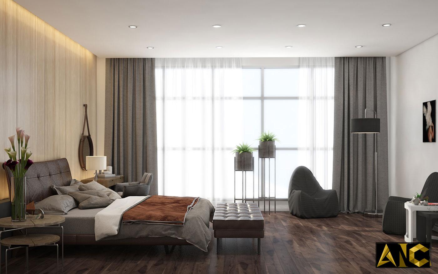 Thiết kế thi công nội thất: Penhouse City Plaza phòng ngủ master view 2