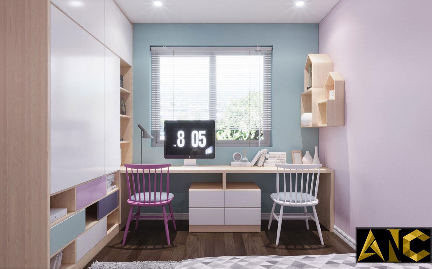 Thiết kế thi công biệt thự Nine South anh Mạnh - Phòng ngủ cho trẻ view 3