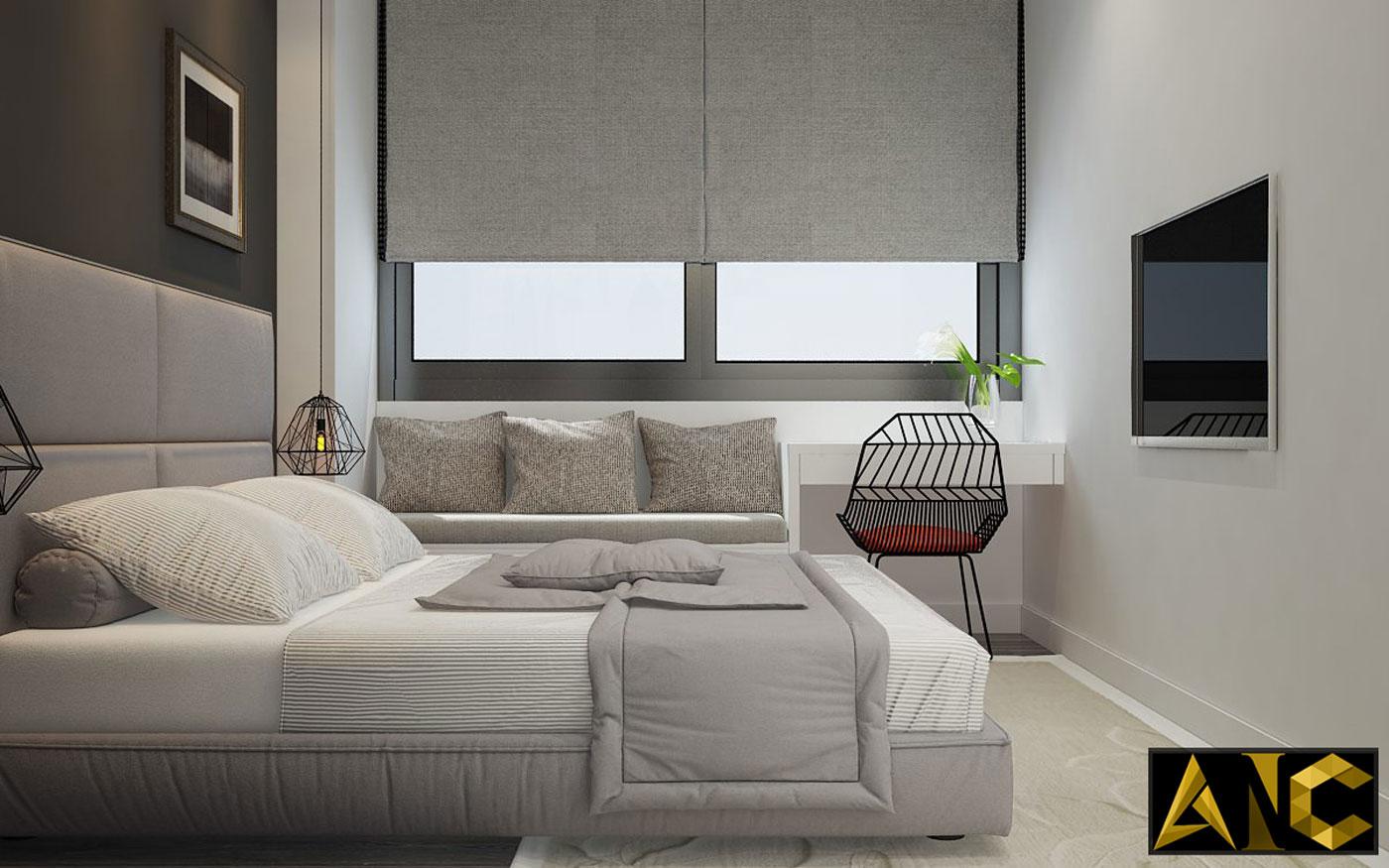 Thiết kế thi công nội thất căn hộ Scenic Valley phòng ngủ master view 2