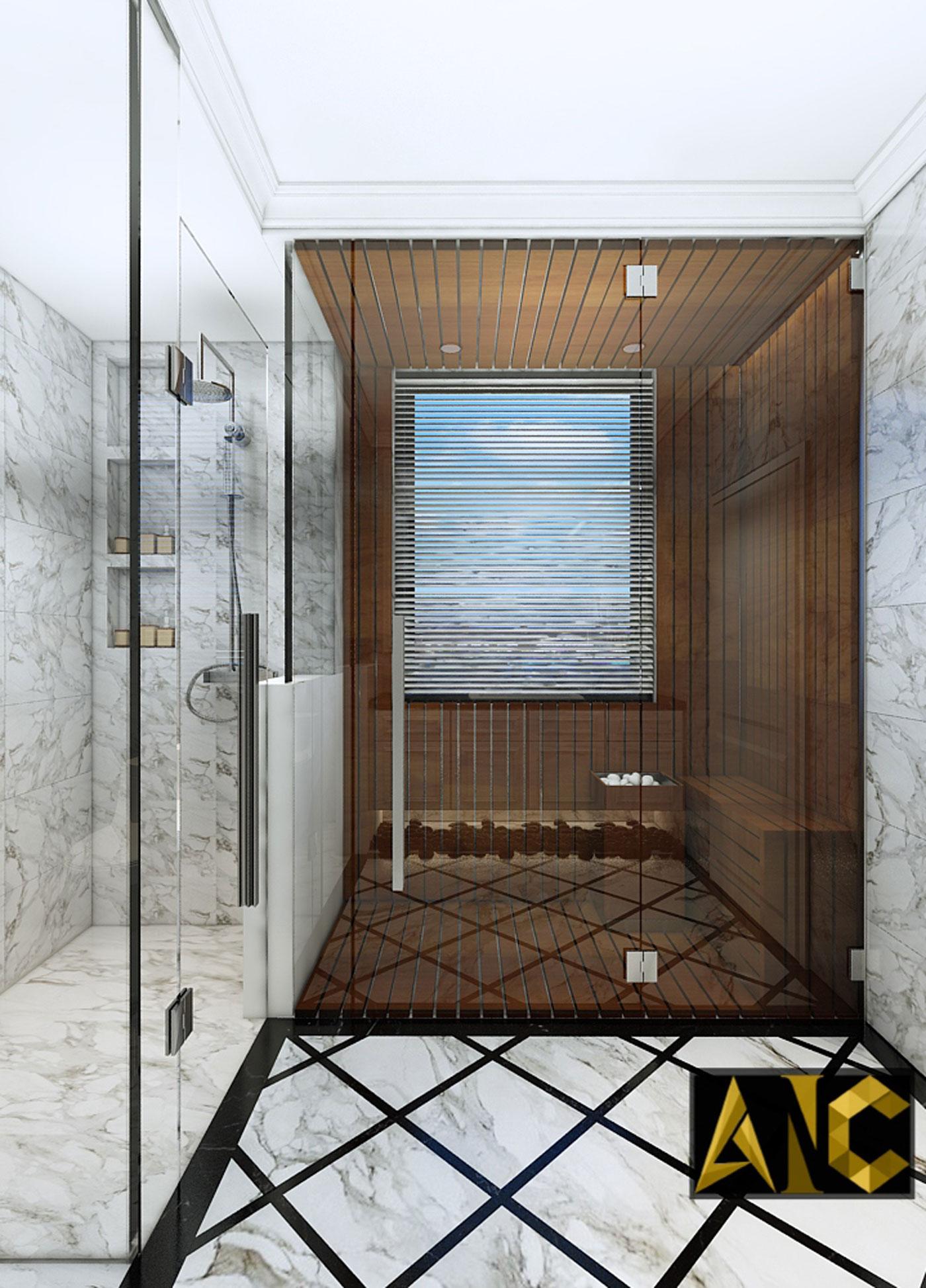 Thiết kế thi công biệt thự Nine South anh Mạnh - Phòng vệ sinh view 2