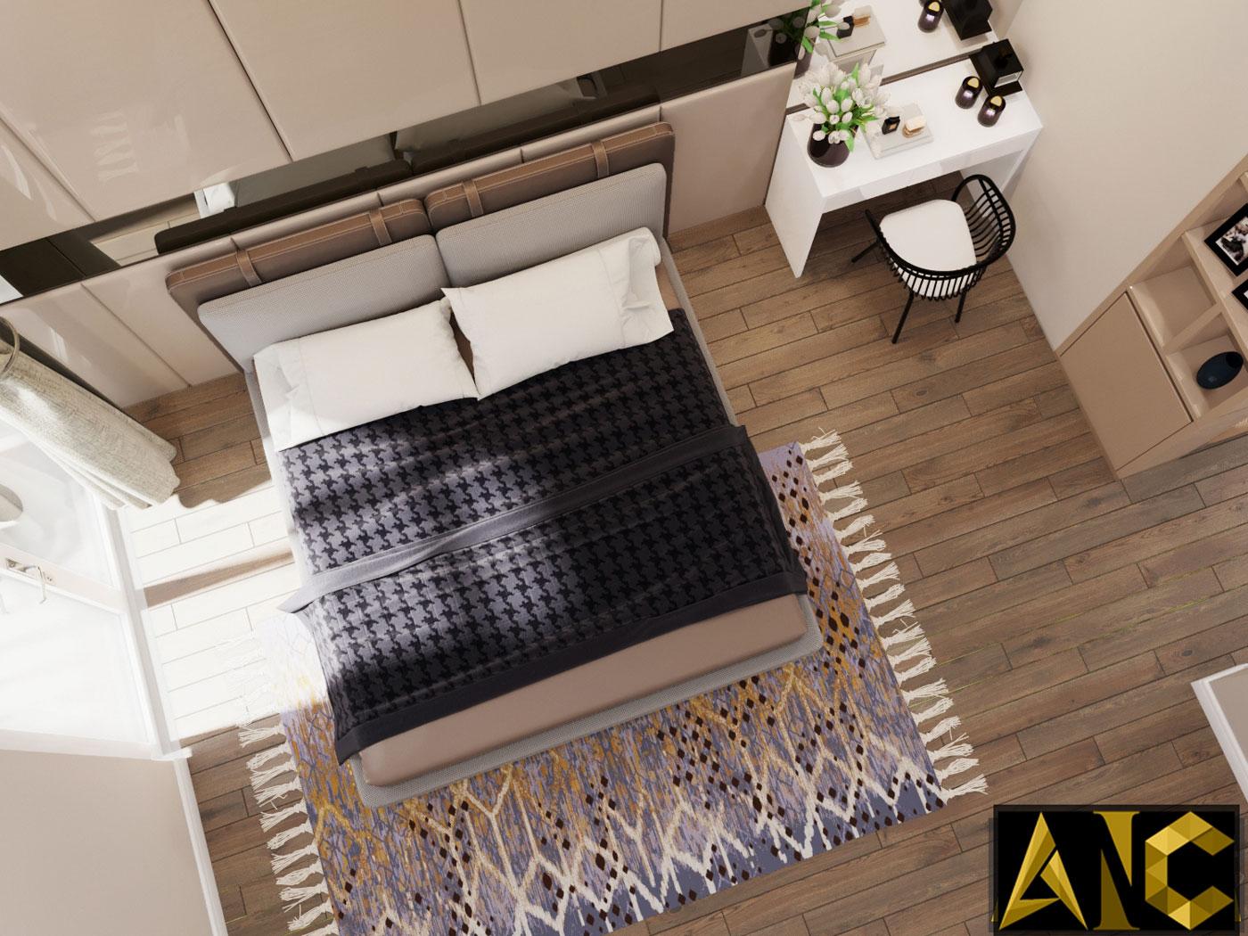 Thiết kế thi công nội thất: Căn hộ Park River Side phòng ngủ master view 3