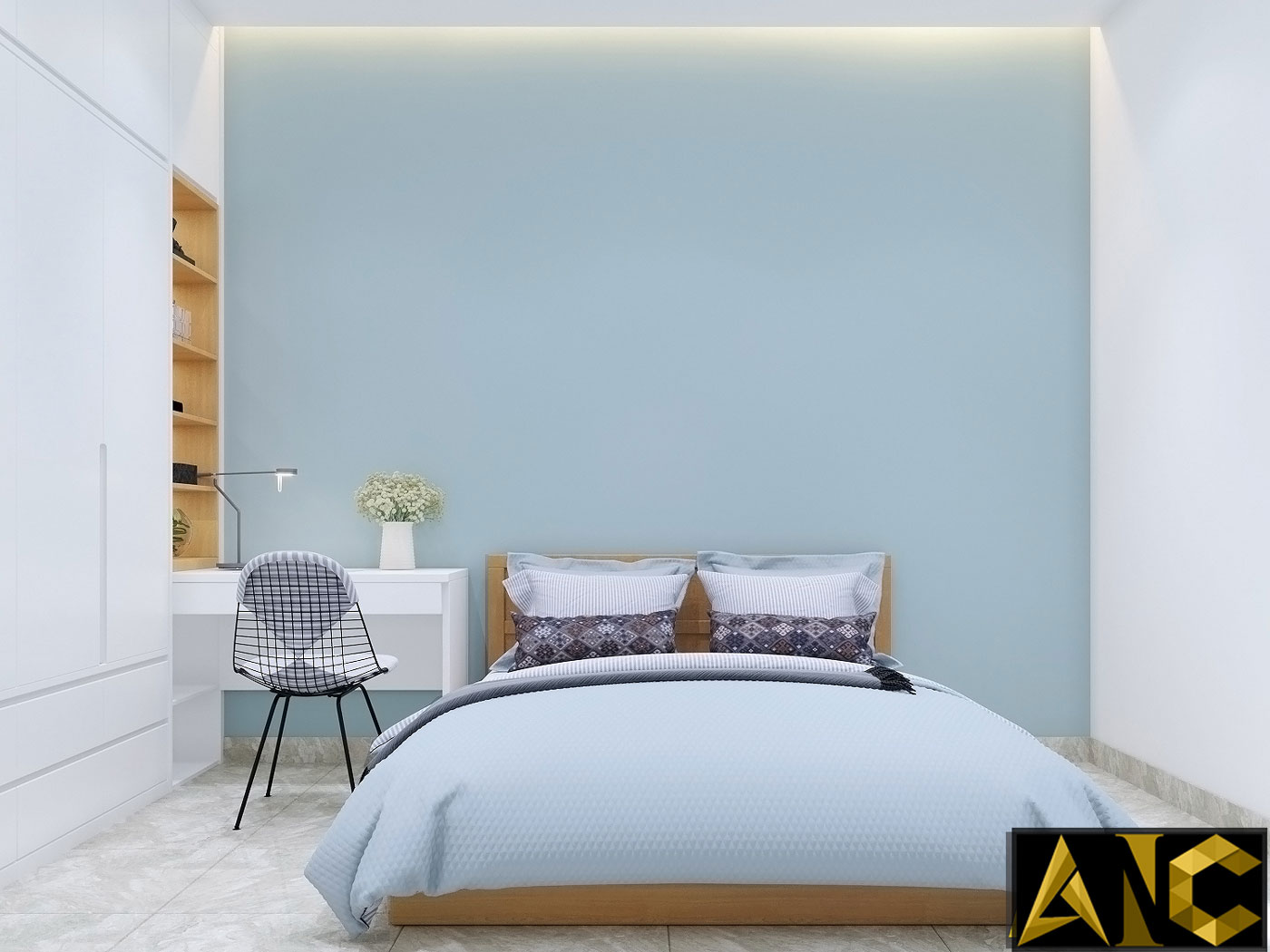 Thiết kế thi công nội thất: Căn hộ Park River Side phòng ngủ 2 view 1