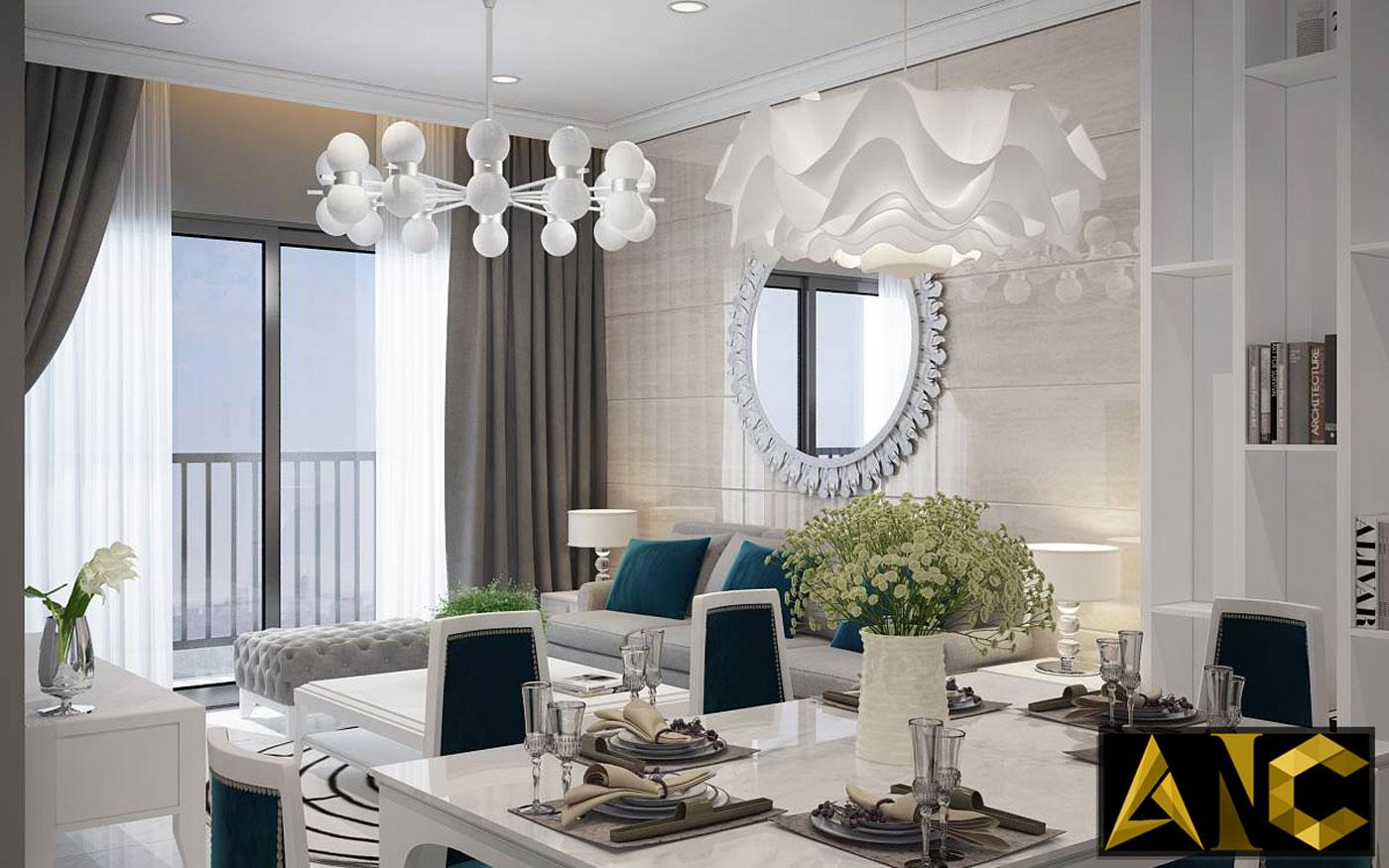 Thiết kế thi công nội thất căn hộ Scenic Valley phòng bếp view 3