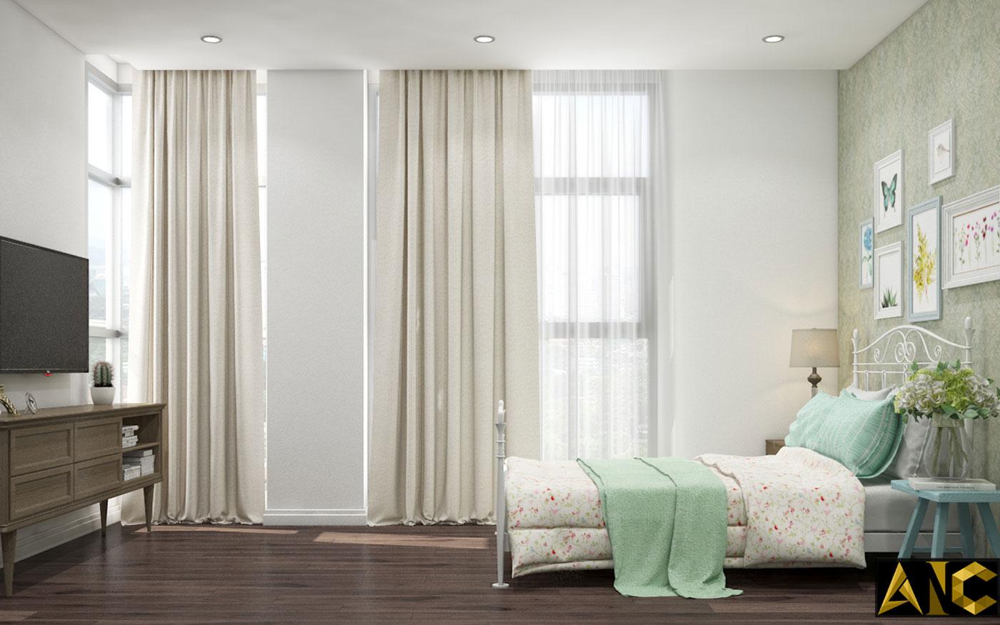 Thiết kế thi công nội thất: Penhouse City Plaza phòng ngủ nhỏ view 2