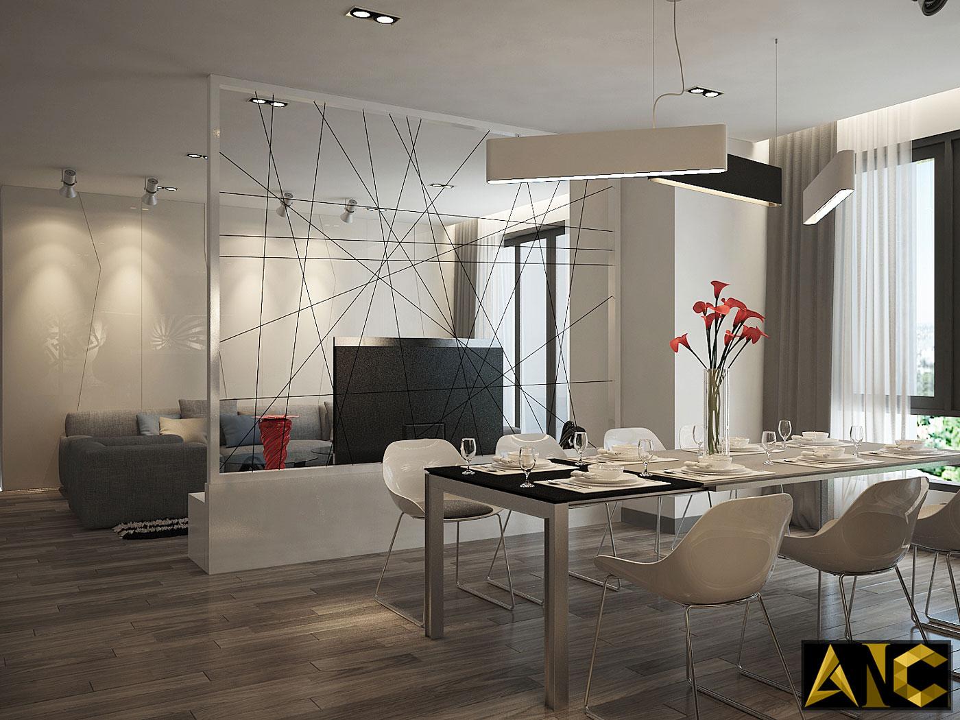 Thiết kế thi công nội thất: căn hộ Royal City phòng bếp view 2