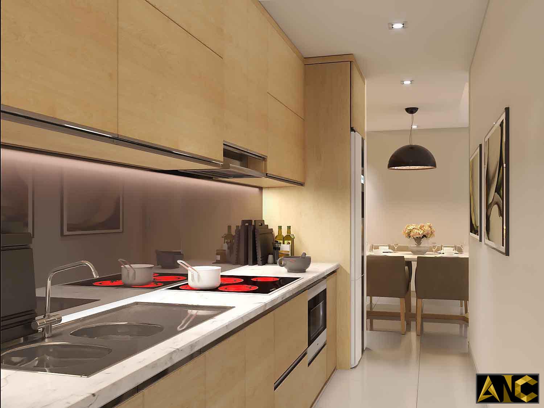 Thiết kế thi công nội thất: Căn hộ Masteri - phòng bếp view 1