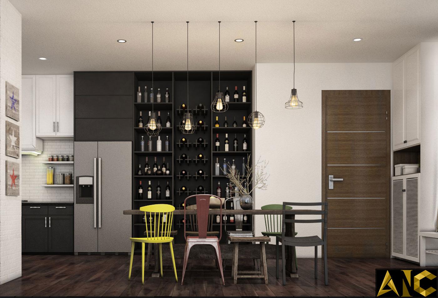 Thiết kế thi công nội thất: Penhouse City Plaza phòng bếp view 1