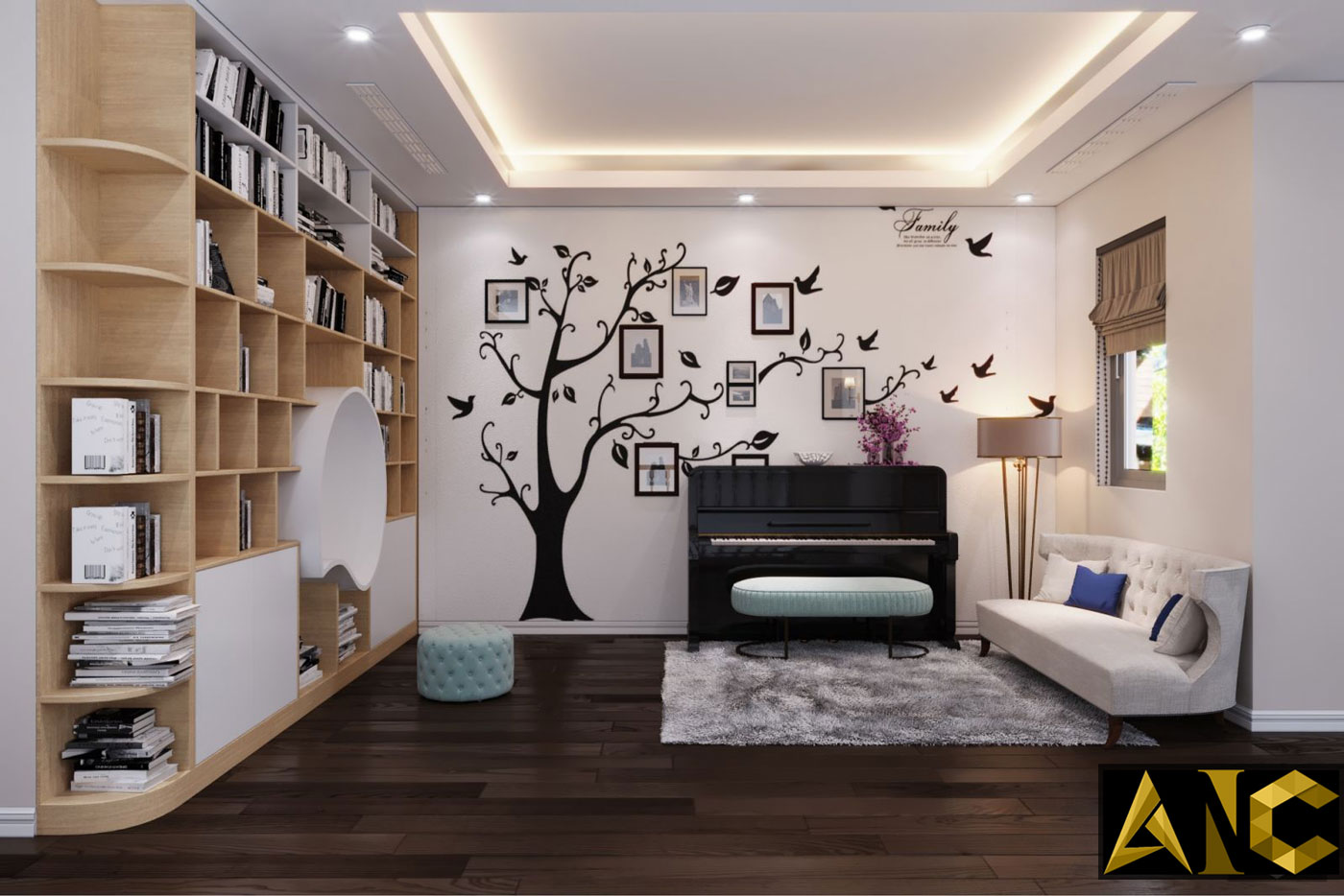 Thiết kế thi công biệt thự Nine South anh Mạnh - Phòng sinh hoạt chung