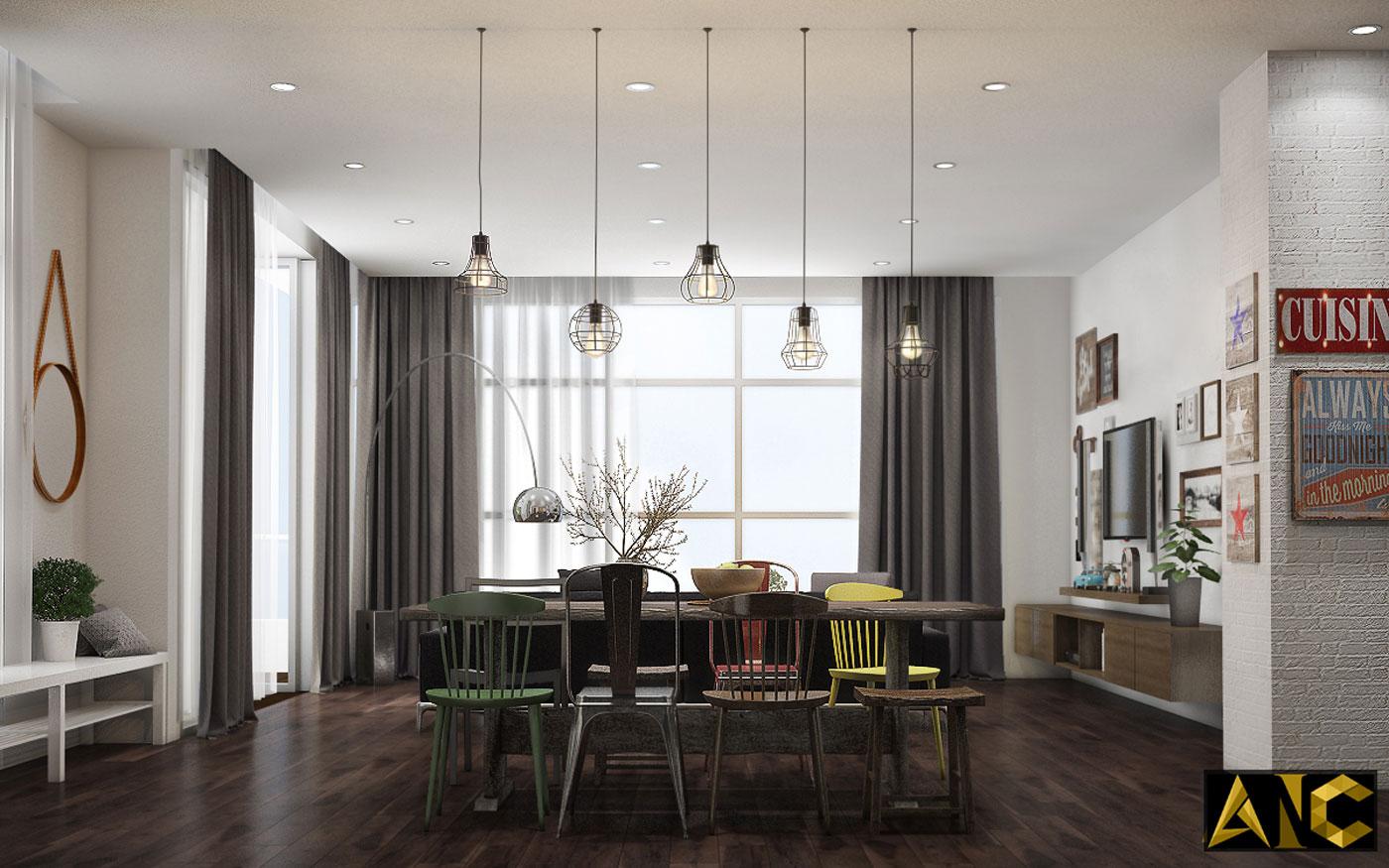 Thiết kế thi công nội thất: Penhouse City Plaza phòng bếp view 4