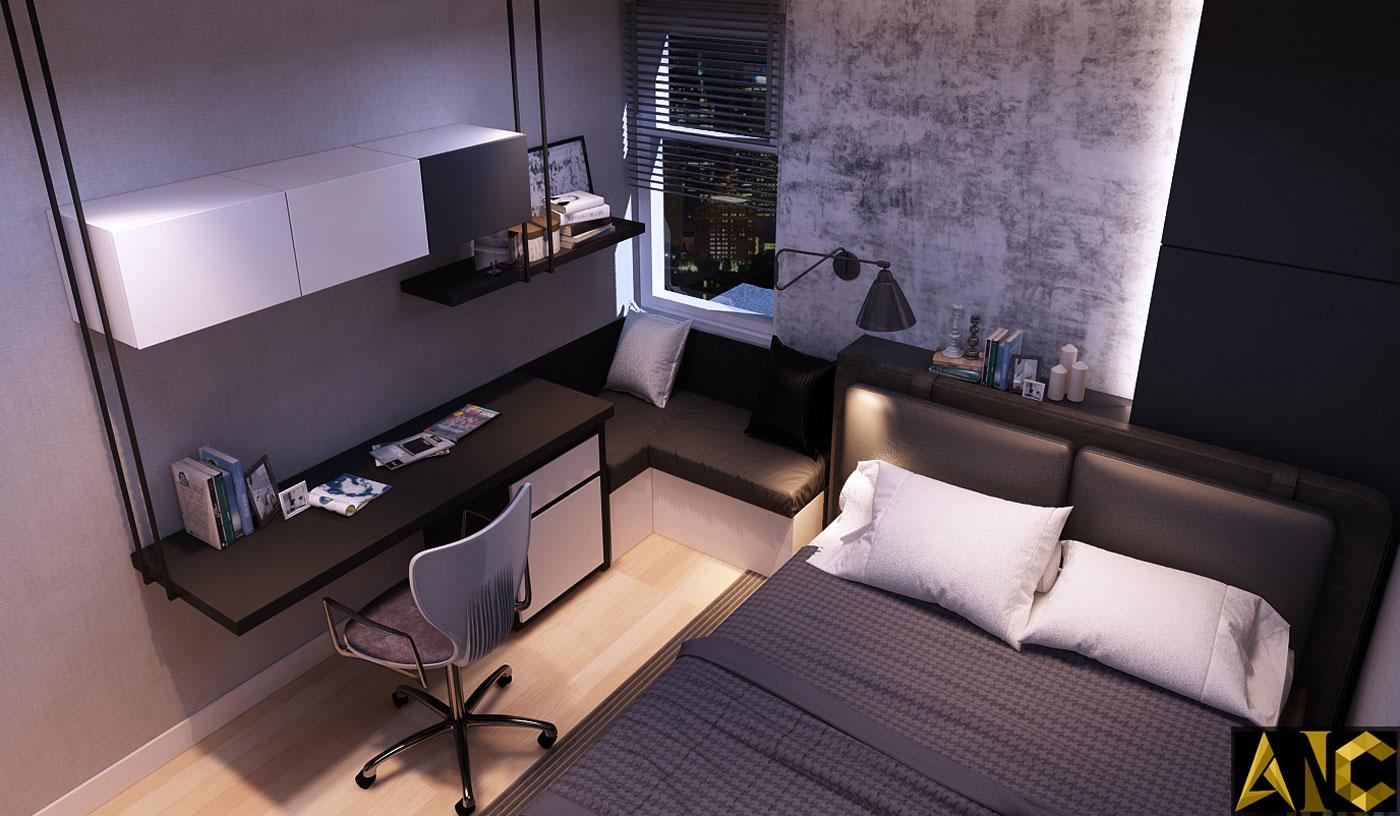 Nội thất căn hộ XI Grand Court - Phòng ngủ nhỏ view 1