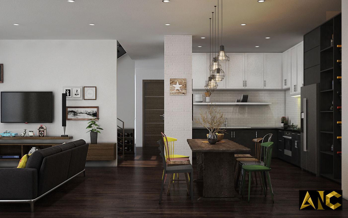 Thiết kế thi công nội thất: Penhouse City Plaza phòng bếp view 2