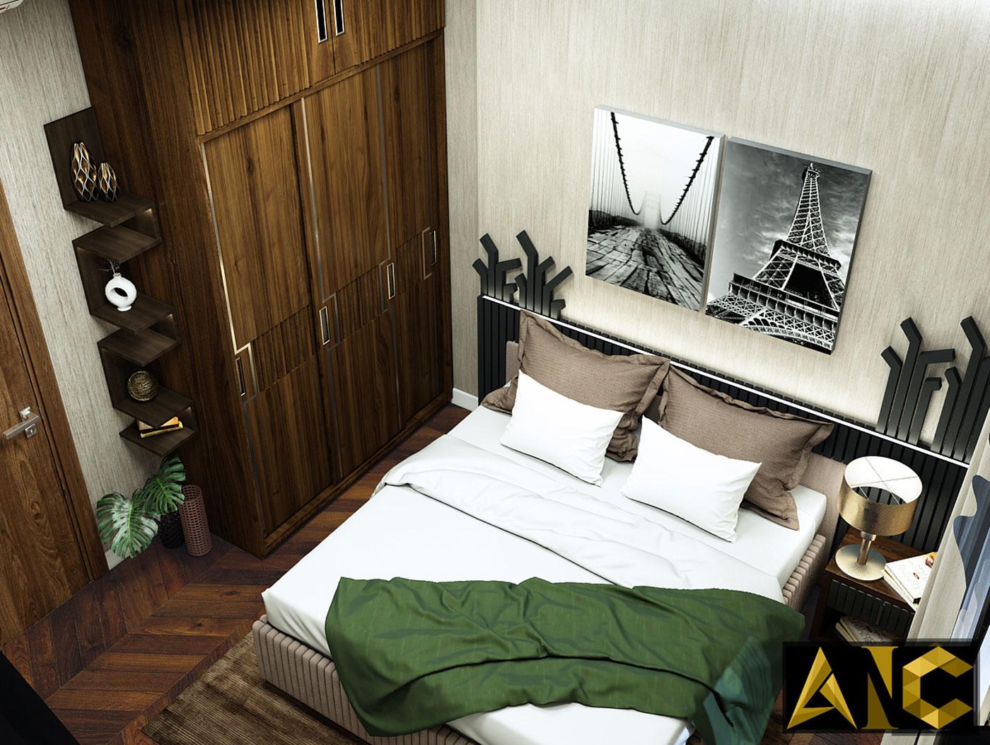 Thiết kế thi công nội thất: chung cư orchard parkview phòng ngủ master mạng mộc view 2