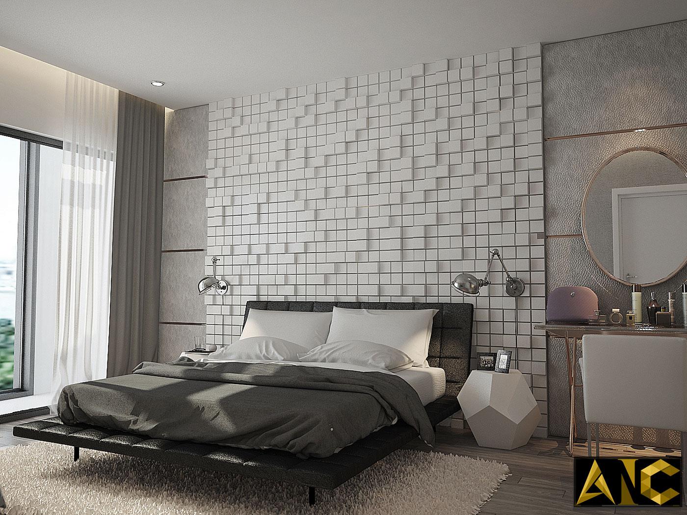 Thiết kế thi công nội thất: căn hộ Royal City phòng ngủ master view 1