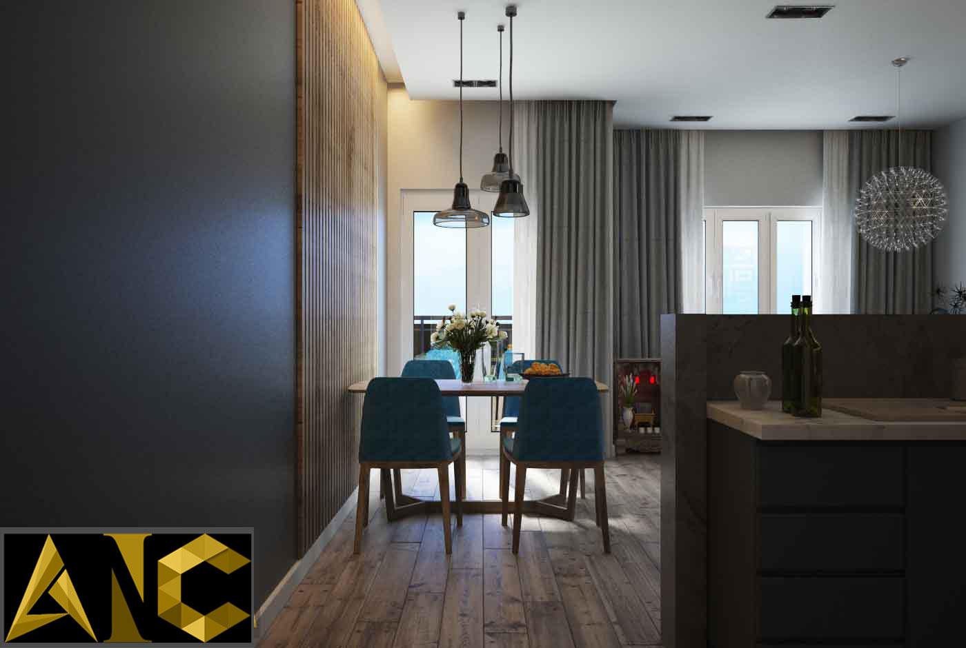 Thiết kế thi công nội thất: Căn hộ Masteri - phòng bếp view 2