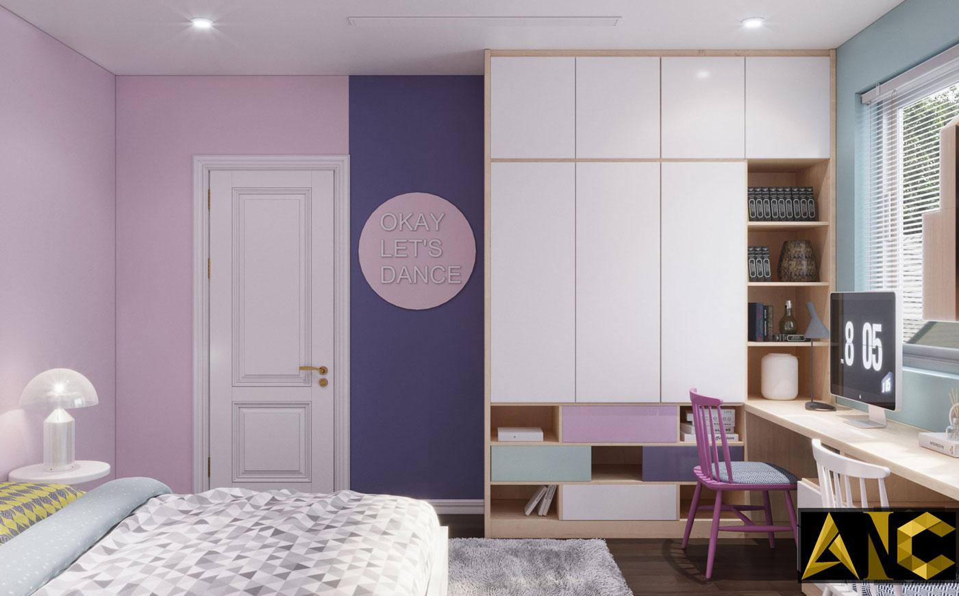 Thiết kế thi công biệt thự Nine South anh Mạnh - Phòng ngủ cho trẻ view 1