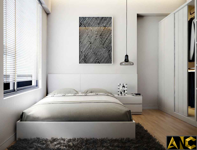 Thiết kế thi công nội thất: Căn hộ Masteri - phòng ngủ nhỏ đẹp view 1