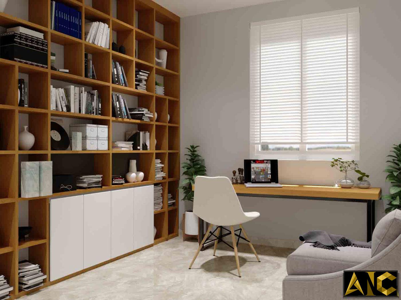 Thiết kế thi công nội thất: Căn hộ Park River Side phòng đọc sách view 1