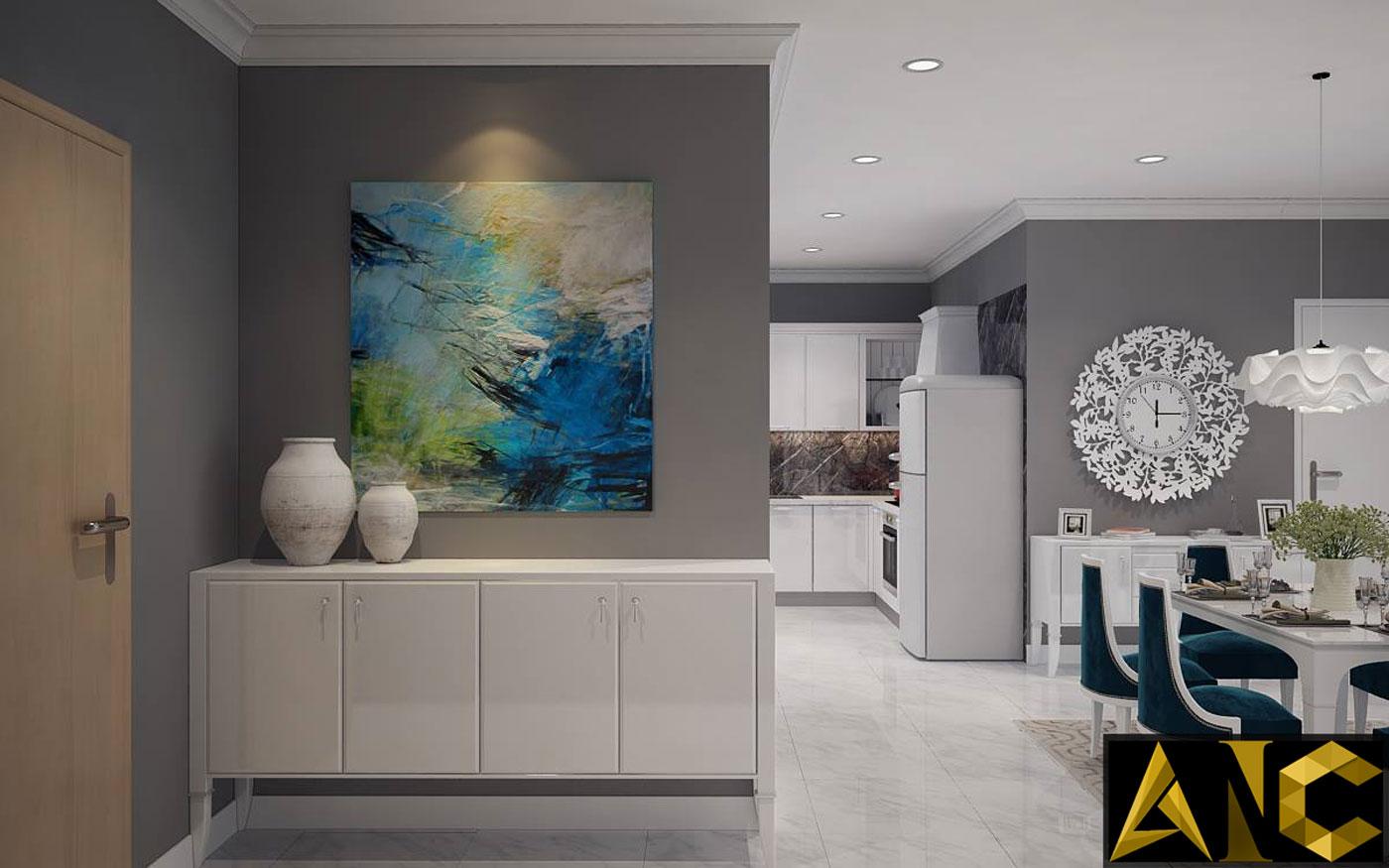 Thiết kế thi công nội thất căn hộ Scenic Valley tủ giày view 1