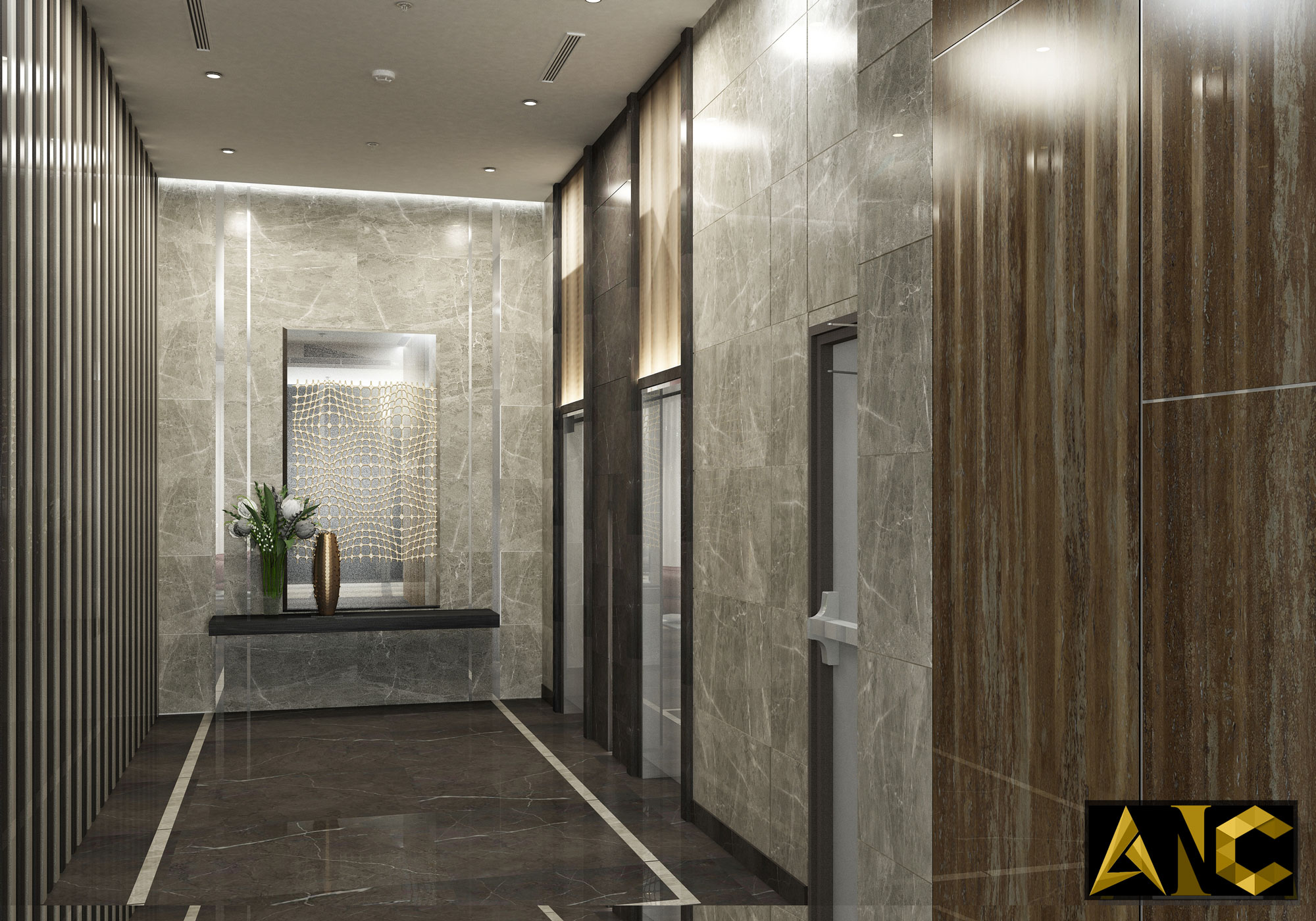 Thiết kế sảnh tòa nhà Ruby Tower Hà Nội - Khu vực thang máy