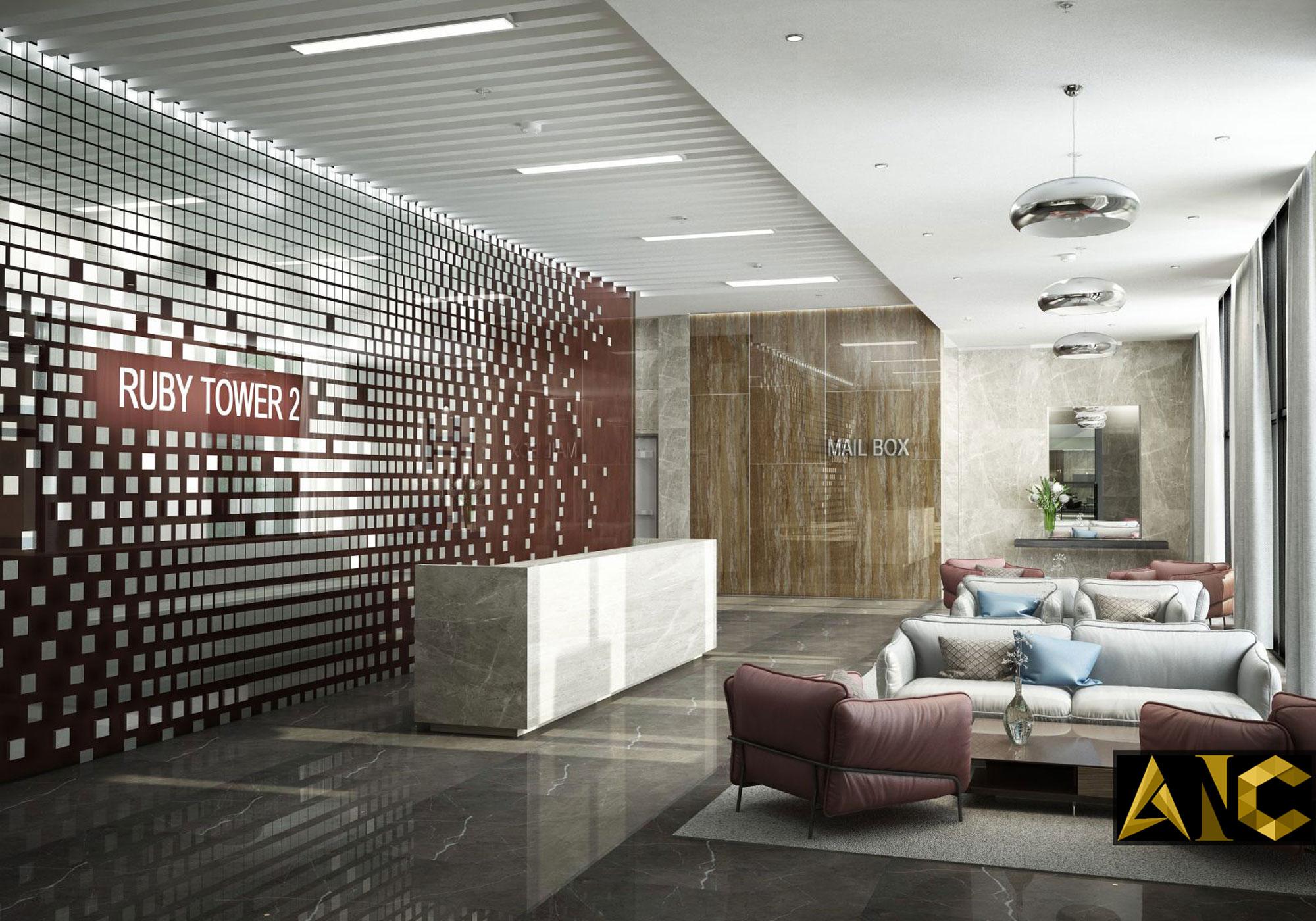 Thiết kế sảnh tòa nhà Ruby Tower Hà Nội - Sảnh view 2
