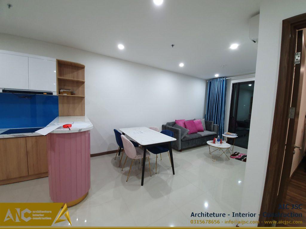 thiết kế và thi công nội thất nhà Vy -phòng khách view 2