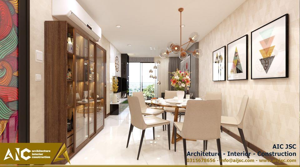 Thiết kế và thi công căn hộ chị Tuyết - phòng khách view 2