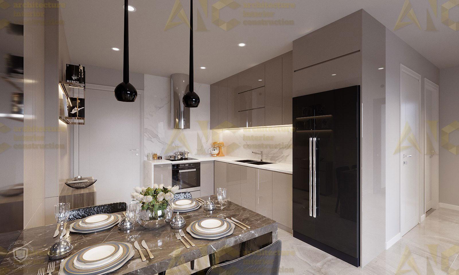 Thiết kế nội thất căn n11 Sài Gòn Mia- phòng bếp view 1