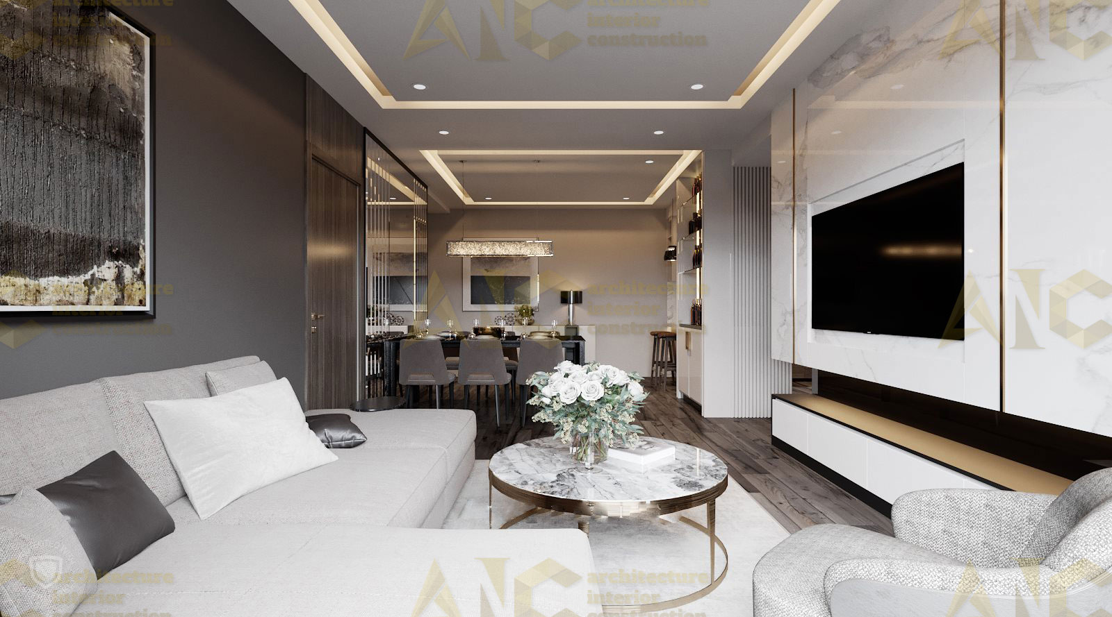 Thiết kế nội thất căn n11 Sài Gòn Mia- phòng khách view 2.1
