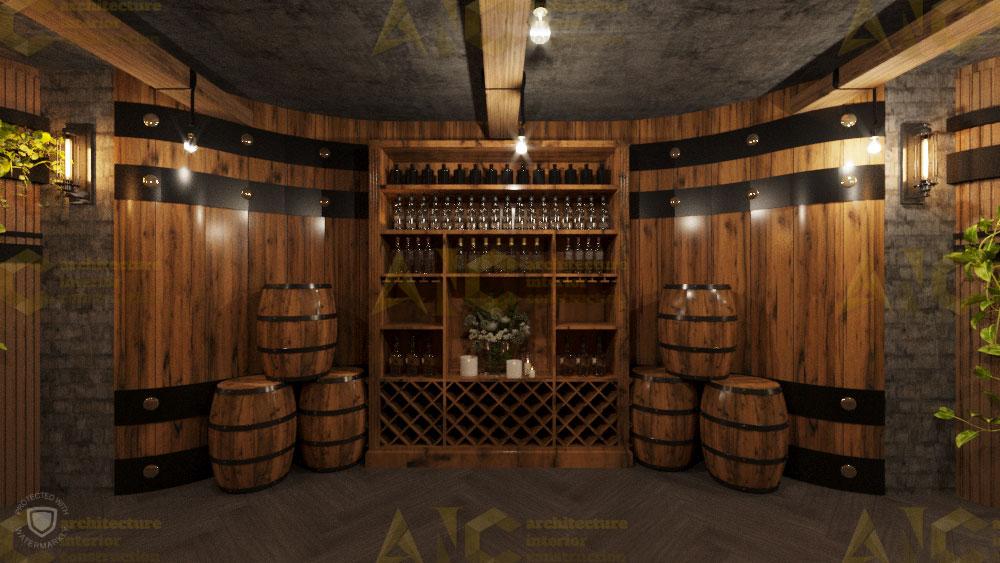 Thiết kế nội thất hầm rượu ban mê chị Vân- hầm rượu view 1