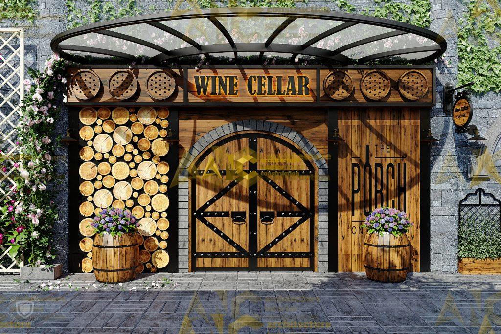 Thiết kế nội thất hầm rượu ban mê chị Vân- mặt tiền view 1