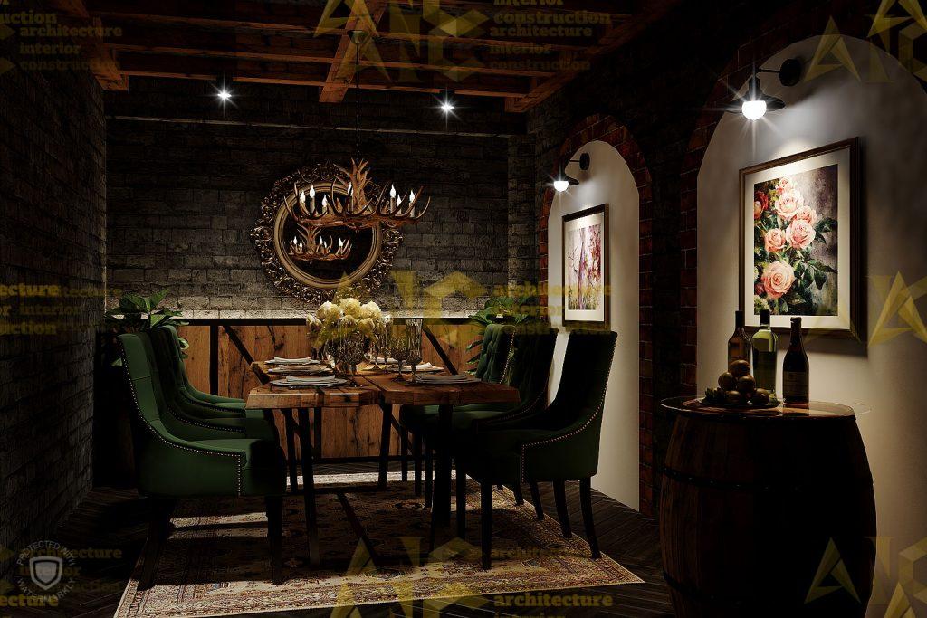 Thiết kế nội thất hầm rượu ban mê chị Vân- phòng Vip view 3.1