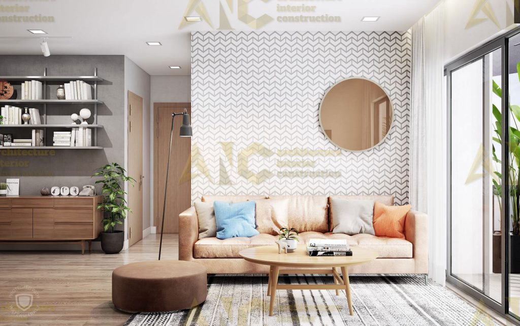 Thiết kế nội thất căn hộ c7 Saigon Mia- phòng khách view 1