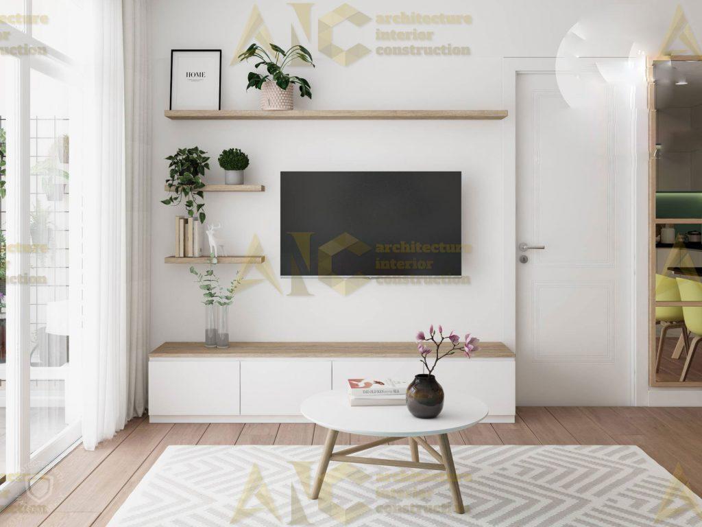 Thiết kế nội thất căn hộ c7 Saigon Mia- phòng khách view 2