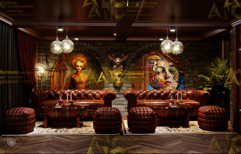 Thiết kế nội thất hầm rượu ban mê chị Vân- cigar room view 1