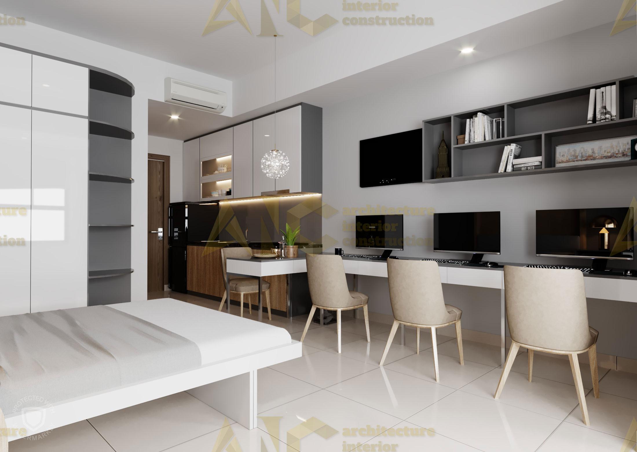 Thiết kế & thi công nội thất căn hộ chú Thắng- view 2