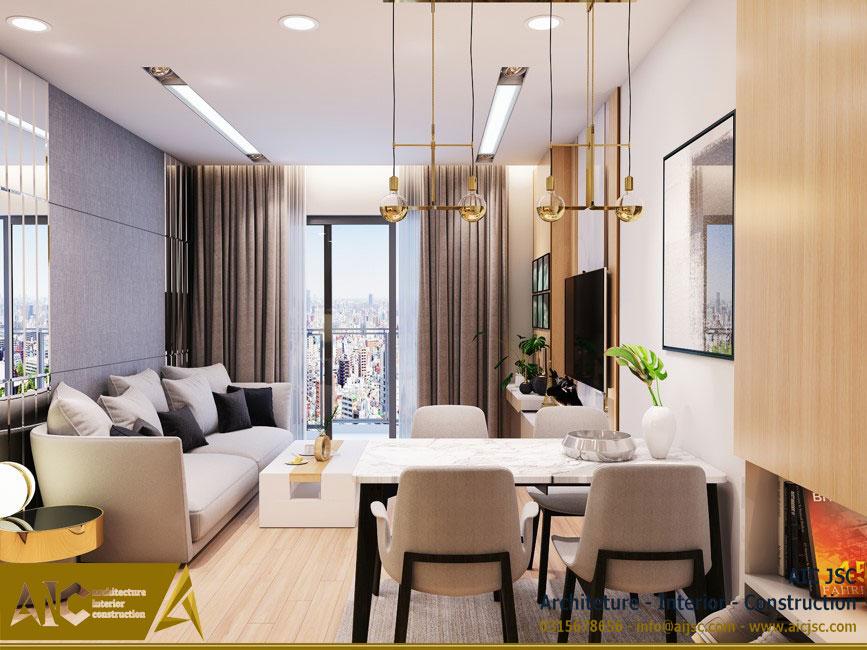 thiết kế và thi công nội thất nhà chị Uyên - quận 7 - khách+ bếp