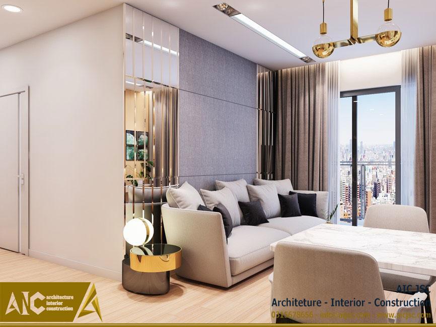 thiết kế và thi công nội thất nhà chị Uyên - quận 7 - phòng khách