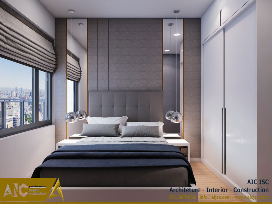 thiết kế và thi công nội thất nhà chị Uyên - quận 7 - phòng ngủ view 2