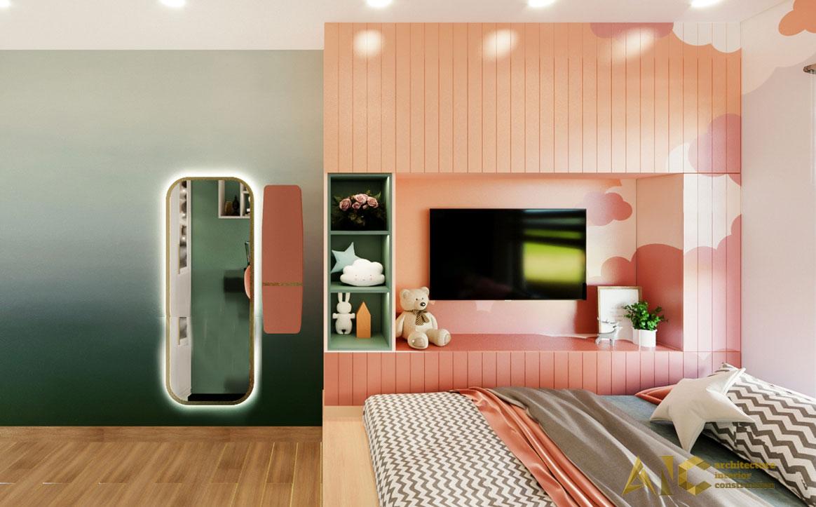 thiết kế thi công nội thất căn hộ chị Phượng Hà Đô Centrosa - phòng ngủ con 1