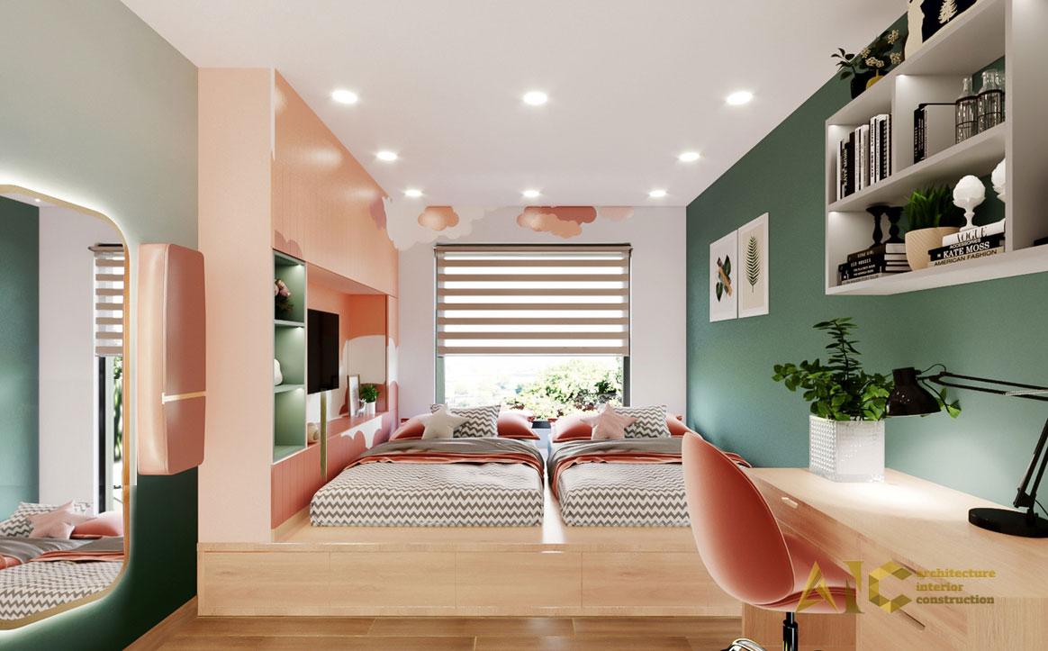 thiết kế thi công nội thất căn hộ chị Phượng Hà Đô Centrosa - phòng ngủ con 2