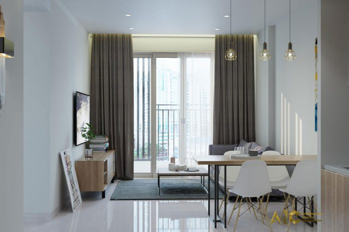 thiết kế và thi công nội thất căn hộ chú Chương - Golden Mansion view 4
