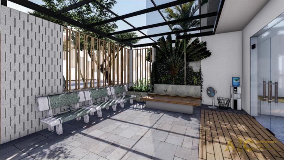 thiết kế thi công nội thất văn phòng Proshipser- sân vườn