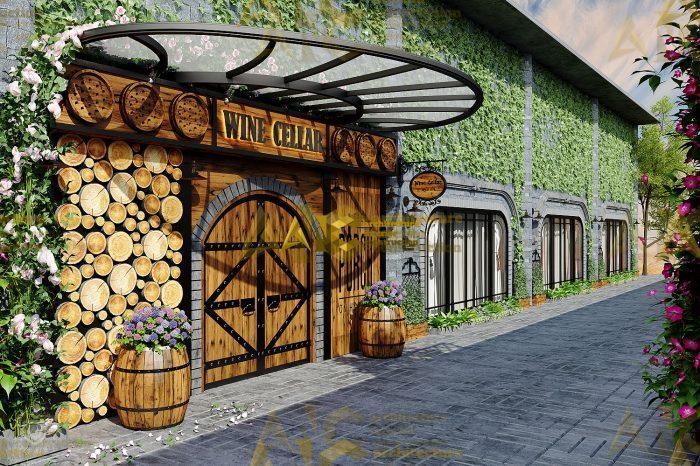 Thiết kế nội thất hầm rượu ban mê chị Vân- mặt tiền view 2